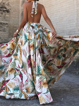 Floor-Length Lace-Up Backless Plant Women's Maxi Dress
