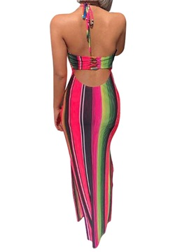 Floor-Length Backless Bodycon Women's Maxi Dress