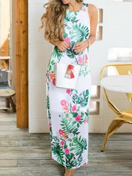 Ankle-Length Print Round Neck A-Line Women's Maxi Dress