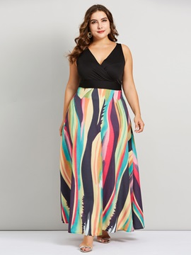 Print V-Neck Floor-Length High Waist Women's Maxi Dress