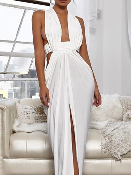 Split Floor-Length Sleeveless Plain High Waist Women's Dress