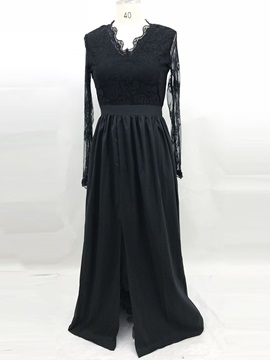 V-Neck Split Floor-Length Expansion Spring Women's Dress
