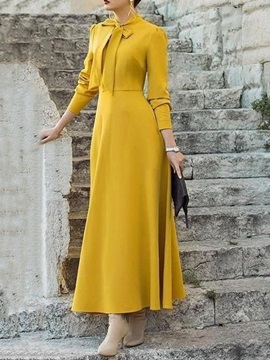 Bowknot Three-Quarter Sleeve Ankle-Length Pullover Simple Women's Dress