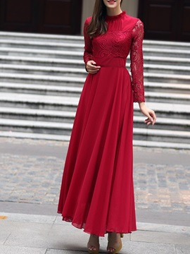 Stand Collar Ankle-Length Long Sleeve Party/Cocktail Fall Women's Dress