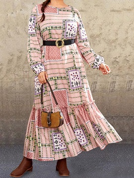 Patchwork Long Sleeve Round Neck Expansion Pullover Women's Dress