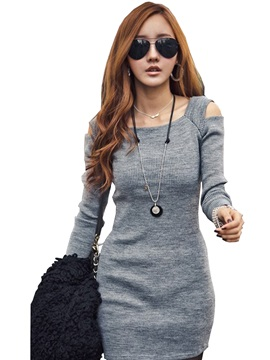 Cold-the-Shoulder Long Sleeve Women's Bodycon Day Dress