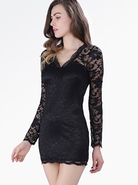 New Style Cut Long Sleeves Lace Sexy Dress
