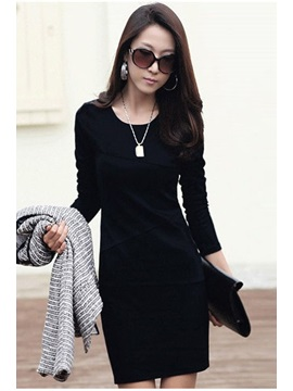 Plain Long Sleeve Women's Sheath Dress