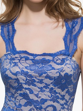Blue Lace Jacquard Sleeveless Sheath Dress