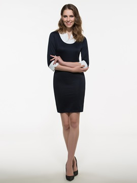 European Pieced Work Bodycon Dress