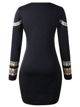 Gold Printing Round-Neck Bodycon Dress