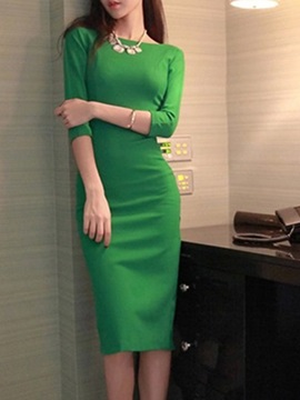 Fashion Solid Color Round Neck Backless Bodycon Dress