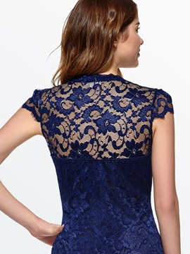 V Neck Short Sleeve Lace Dress