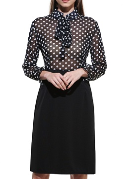 Polka Dots Long Sleeve Work Bodycon Dress