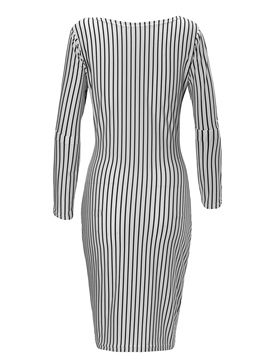 Chic Stripe Round Neck Long Sleeve Bodycon Dress