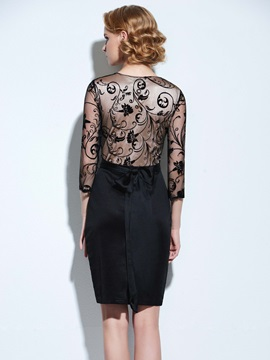 Chic Lace Patchwork 3/4 Sleeve Belt Work Bodycon Dress