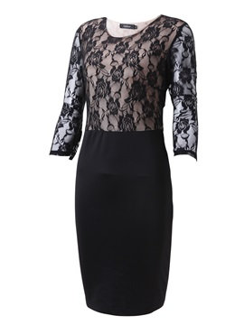 Patchwork Round Neck 3/4 Sleeve Belt Work Bodycon Dress