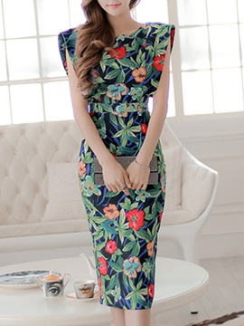 Floral Print Empire Waist Slim Belt Bodycon Dress