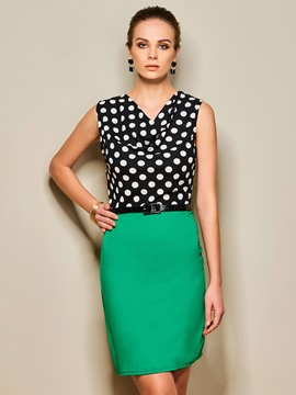 Polka Dots Patchwork Split Work Bodycon Dress