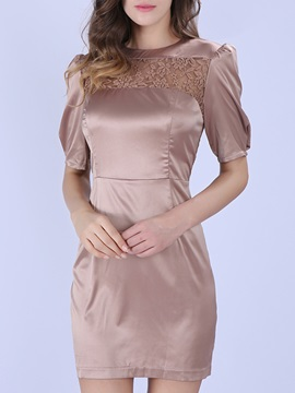 Backless Lace Patchwork Short Sleeve Bodycon Dress