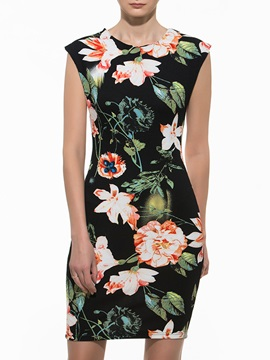 Chic Floral Print Short Sleeve Work Bodycon Dress