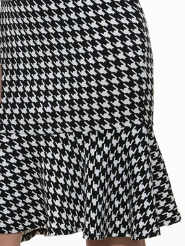 Houndstooth Short Sleeve Mermaid Work Bodycon Dress with Zipper