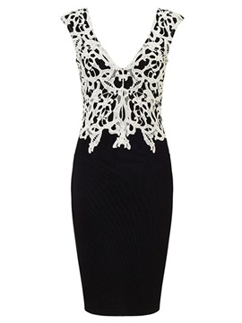 Lace Patchwork Contrast Color Sleeveless Bodycon Dress
