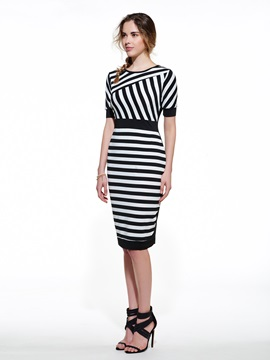 Stripe Contrast Color Short Sleeve Bodycon Dress