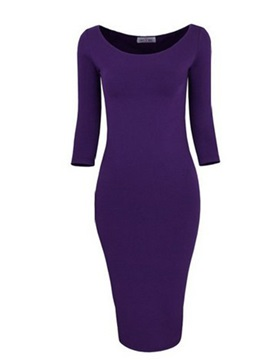 Plain 3/4 Sleeve Bodycon Dress
