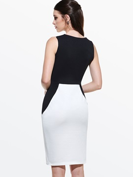 Contrast Color Hollow Sleeveless Bodycon Dress