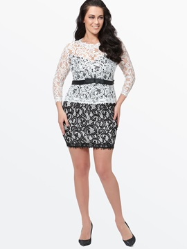 Nine Points Sleeve Plus Size Women's Lace Bodycon Dress