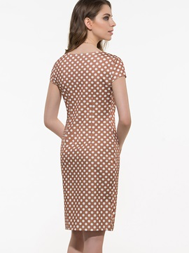 Polka Dots Round Neck Short Sleeve Bodycon Dress