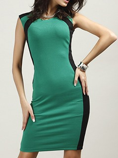 Contrast Color Sleeveless Slim Bodycon Dress