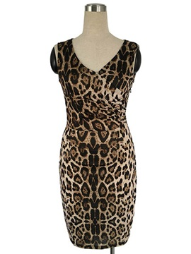 V-Neck Leopard Ruffled Zipper Bodycon Dress