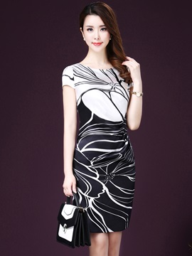 Chic Print U-Neck Bodycon Dresses