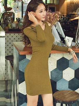 Slim Sexy Strapless V-Neck Knit Sweater Dress