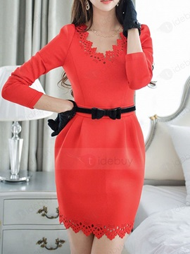 Red V-Neck Long Sleeve Bodycon Dress With Tie-Belt