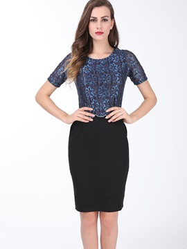 Patchwork Short Sleeve Work Dress