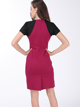 Contrast Color Lace Patchwork Work Dress