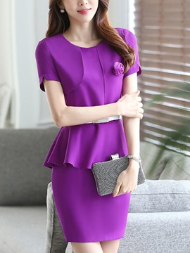 Solid Color Falbala Appliques Bodycon Dress