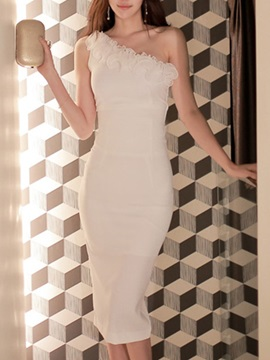 One-shoulder Backless Appliques Bodycon Dress