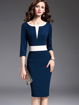 Color Block 3/4 Sleeve Fashion Bodycon Dress