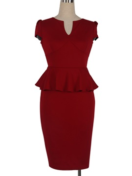 Chic V-Neck Short Sleeve Falbala Work Dress