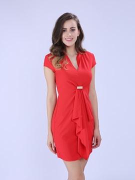 Solid Short Sleeve Falbala Work Dress