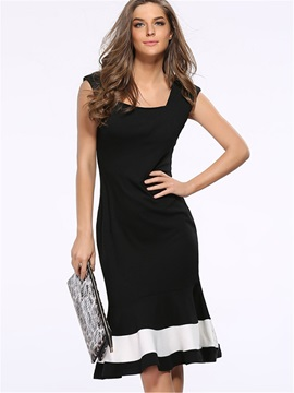 Square Neck Sleeveless Mermaid Work Dress