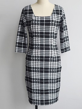 Plaid Square Neck 3/4 Sleeve Bodycon Dress