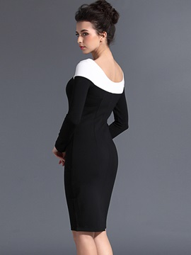 Chic Contrast Color Long Sleeve Bodycon Dress