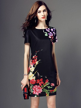 Floral Print Short Sleeve Work Dress