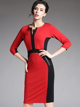 Color Block 3/4 Sleeve Work Dress