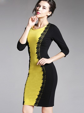 Lace Patchwork 3/4 Sleeve Work Dress